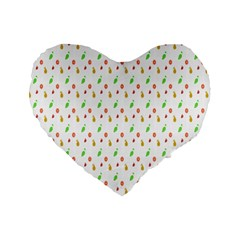 Fruit Pattern Vector Background Standard 16  Premium Heart Shape Cushions