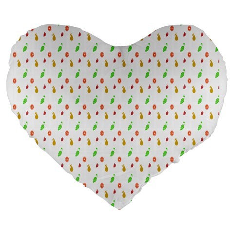 Fruit Pattern Vector Background Large 19  Premium Heart Shape Cushions