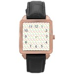 Fruit Pattern Vector Background Rose Gold Leather Watch  Front