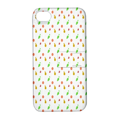 Fruit Pattern Vector Background Apple iPhone 4/4S Hardshell Case with Stand