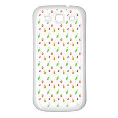 Fruit Pattern Vector Background Samsung Galaxy S3 Back Case (White)