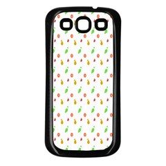 Fruit Pattern Vector Background Samsung Galaxy S3 Back Case (Black)