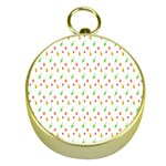 Fruit Pattern Vector Background Gold Compasses Front