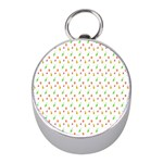 Fruit Pattern Vector Background Mini Silver Compasses Front