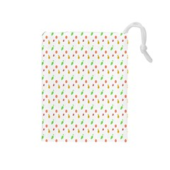 Fruit Pattern Vector Background Drawstring Pouches (Medium)