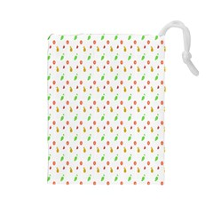 Fruit Pattern Vector Background Drawstring Pouches (Large)