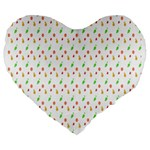 Fruit Pattern Vector Background Large 19  Premium Flano Heart Shape Cushions Front