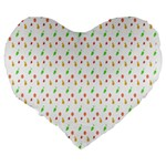Fruit Pattern Vector Background Large 19  Premium Flano Heart Shape Cushions Back