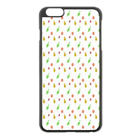 Fruit Pattern Vector Background Apple iPhone 6 Plus/6S Plus Black Enamel Case