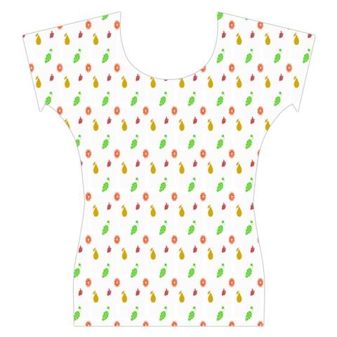 Fruit Pattern Vector Background Women s Cap Sleeve Top