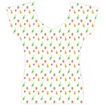 Fruit Pattern Vector Background Women s V-Neck Cap Sleeve Top Front