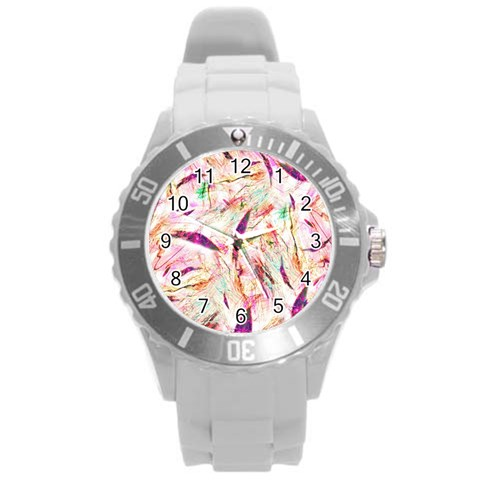 Grass Blades Round Plastic Sport Watch (L)