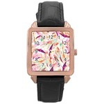 Grass Blades Rose Gold Leather Watch  Front