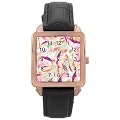 Grass Blades Rose Gold Leather Watch