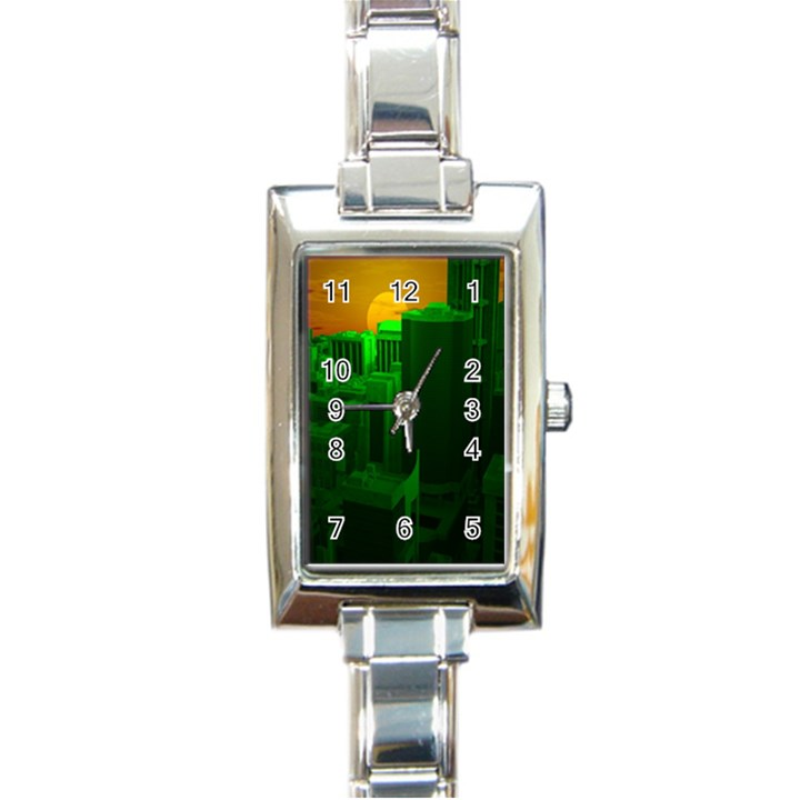 Green Building City Night Rectangle Italian Charm Watch