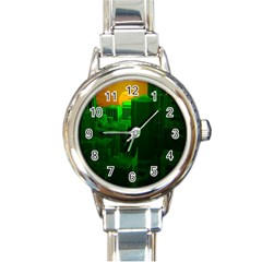 Green Building City Night Round Italian Charm Watch