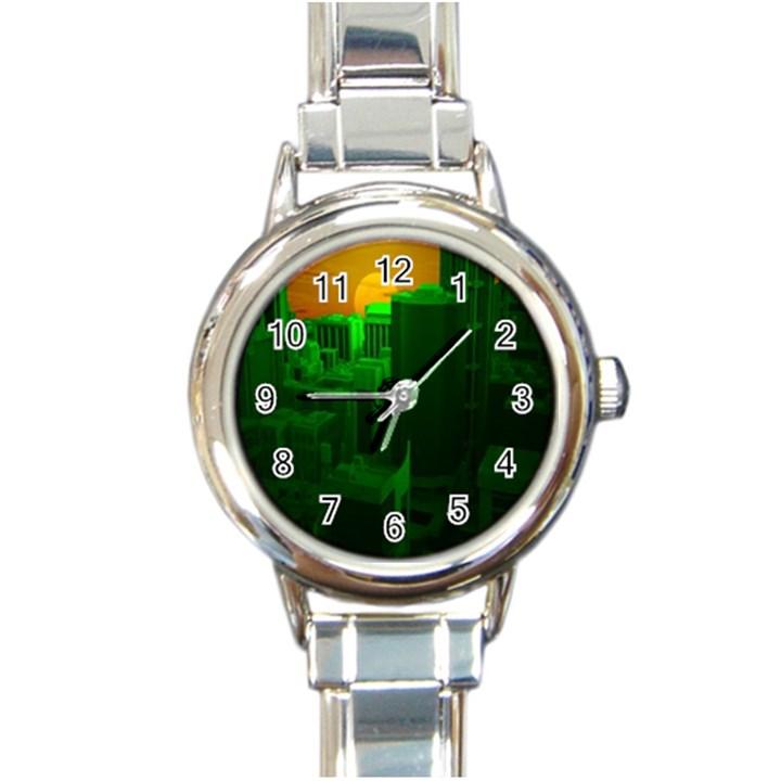 Green Building City Night Round Italian Charm Watch