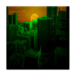 Green Building City Night Tile Coasters