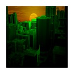 Green Building City Night Tile Coasters Front