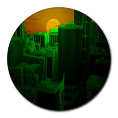 Green Building City Night Round Mousepads
