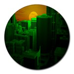 Green Building City Night Round Mousepads Front