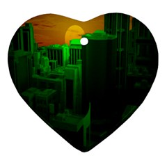 Green Building City Night Ornament (Heart)
