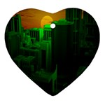 Green Building City Night Ornament (Heart)  Front