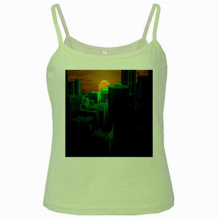 Green Building City Night Green Spaghetti Tank