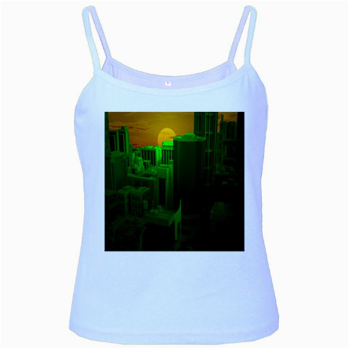 Green Building City Night Baby Blue Spaghetti Tank