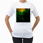 Green Building City Night Women s T-Shirt (White) (Two Sided) Front
