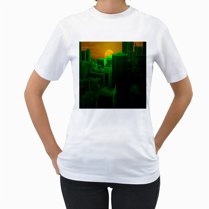 Green Building City Night Women s T-Shirt (White) (Two Sided)