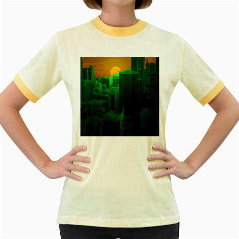 Green Building City Night Women s Fitted Ringer T-Shirts