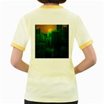 Green Building City Night Women s Fitted Ringer T-Shirts Back
