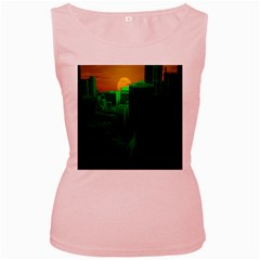 Green Building City Night Women s Pink Tank Top