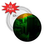 Green Building City Night 2.25  Buttons (10 pack)  Front
