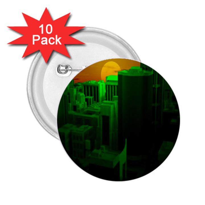 Green Building City Night 2.25  Buttons (10 pack)
