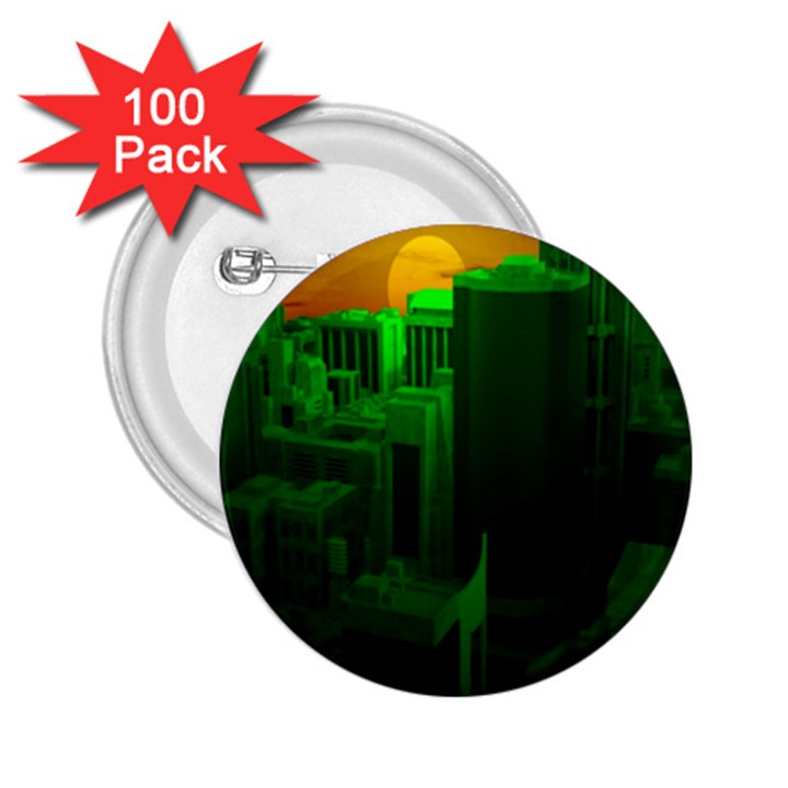 Green Building City Night 2.25  Buttons (100 pack)