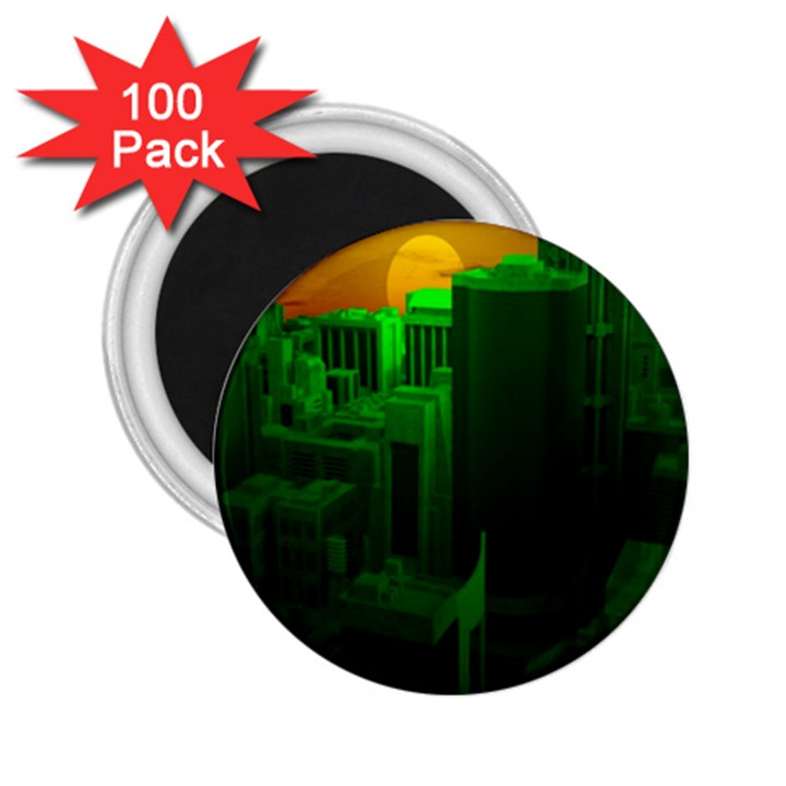 Green Building City Night 2.25  Magnets (100 pack)