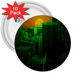Green Building City Night 3  Buttons (10 pack)  Front