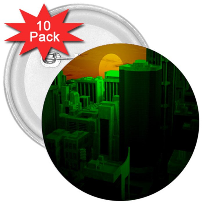 Green Building City Night 3  Buttons (10 pack)