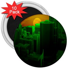 Green Building City Night 3  Magnets (10 pack)