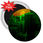 Green Building City Night 3  Magnets (10 pack)  Front