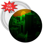 Green Building City Night 3  Buttons (100 pack)  Front