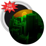 Green Building City Night 3  Magnets (100 pack) Front