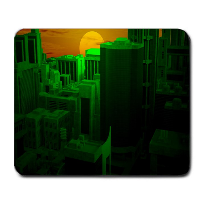 Green Building City Night Large Mousepads