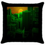 Green Building City Night Throw Pillow Case (Black) Front
