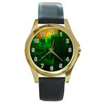 Green Building City Night Round Gold Metal Watch Front
