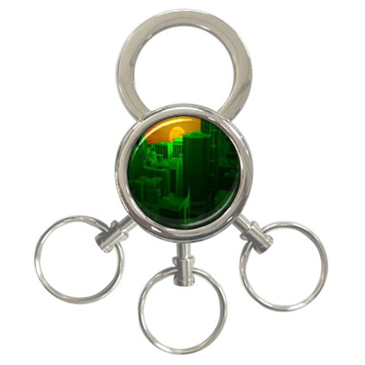 Green Building City Night 3-Ring Key Chains