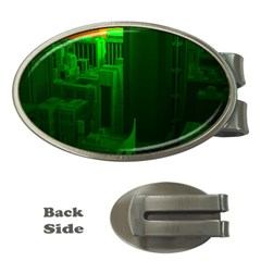 Green Building City Night Money Clips (Oval)