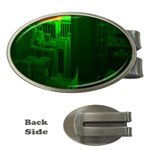 Green Building City Night Money Clips (Oval)  Front
